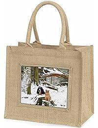 Cocker Spaniel and Cat Snow Scene Large Natural Jute Shopping Bag Christmas Gift