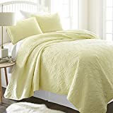 Becky Cameron BC-Qlt-DA-T-YE Damask 3 Piece Quilted Coverlet Set