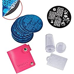 Biutee Estampacion Uñas de Acero Inoxidable con 10 Placas + 1 Estampador +1 Raspador +1 Funda en la que se Pueden Guardar 24 Placas (el Color Azar)