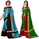Art Décor Sarees Women's Cotton Silk With Blouse Piece Pack of Two Sarees