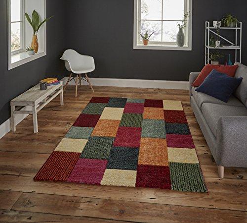 HomeLinenStore Designer Style Karo handgeschnitzt sehr strapazierfähig Multi Farbe Teppich in verschiedenen Größen, Polypropylen, Multi, 120 x 170 cm