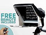 TeleprompterPAD iLight Pro 10'' Weiß mit Fernsteuerung – 100x100 Aluminium - robustes professionelles Produkt (kein Schwach Kunststoff) iPad/Android Autocue tragbare Multi-Kamera (DSLR und professionelle Video-Kameras) Kristall HD Strahlteiler Glas Beamsplitter - Hochwertige Fertigung - Made in UE
