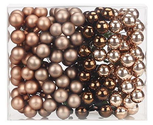 144 Spiegelbeeren Kugeln am Draht 2cm ( Elegant Lounge / schokolade braun ) // Weihnachtskugeln Baumkugeln Baumschmuck Weihnachtsdeko Kugeln Glaskugeln Set (Braun Weihnachtskugeln)