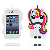 Cover Copertura per iPhone 4, Custodia iPhone 4S case, materiale TPU slittamento di polvere resistente (3D Cartoon unicorno unicorn Rainbow Big Eyes)