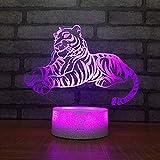 Lámpara LED para niños con luz nocturna USB, interruptor luminoso, soporte de lámpara luminosa, regalo de vacaciones tigre leopardo león serie, A