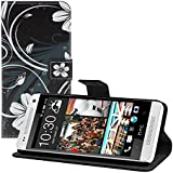 kwmobile Wallet Case Kunstlederhülle für HTC One Mini 2 - Cover Flip Tasche in Blumen Swirl Design mit Kartenfach und Ständerfunktion in Weiß Schwarz