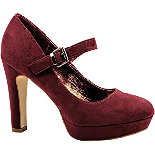 Elara Damen High Heels | Bequeme Spangen Pumps | Riemchen Stilettos (39, Bordorot Wild)