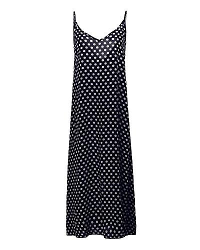 StyleDome Damen V-Ausschnitt Dünne Swing Maxi Oversize Party Strandkleid Dunkelblau
