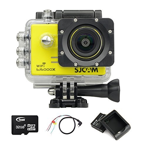 BOOMYOURS Original SJCAM SJ5000X WiFi Elite Edition Action Camera(2.0inch LCD,12MP,4K @24FPS,Sony IMX078 Sensor,Gyro Anti-Shake)+32GB Micro SD card+extra battery+USB battery charger+Micro USB to AV Out Cable-Yellow