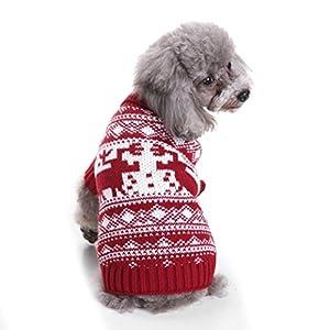 vêtement Chien Angelof Tricot Habit Pour Chiot Collier Levrier VêTements Confortables Pour Animaux De Compagnie Festival Robe Pull Tricots
