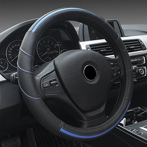 Universal Fit Lenkradhülle Lenkradschoner Prämie Leder Auto Lenkradabdeckung 37-39CM / 15'' Atmungsaktiv Lenkradschutz für Auto Zubehör - Schwarz & Blau
