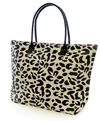 Animal Print Damen Sommer-Beach-Pool-Swim-Tasche-Shopping-Tasche, groß Leopard