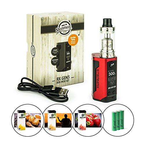 Preisvergleich Produktbild Steamax Wismec RX Gen3 300 Watt + Reux Tank 6 ml + 3 x 2500 mAh Akku + 3 x 10 ml SC-Liquid (nikotinfrei) E-Zigarette E-Shisha (rot)