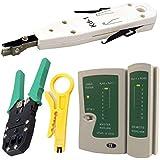 Kabalo Network LAN Kit: RJ45 Cat5e RJ11 PC Cable Tester Crimping Crimper Punch Tool Set - Red de Cable Tester que prensa Corrugadora Puñetazo Tool Set