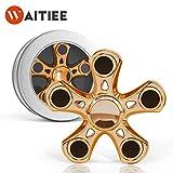 Waitiee Fidget Hand Spinner Roulement En acier Haute Vitesse - Tourne 2-3 Minute - Jeu Sensoriel Tri-Spinner Fidget Toy Enfant ou Adulte (silver)