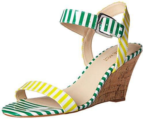 Nine West Kiani Synthetic Keilsandale White/Yellow/White/Green