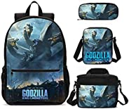 4pcs Backpack Set Godzillas Dinosaur Printing School Book Bag with Lunch Bag Shoulder Bags and Pen Case for Gi