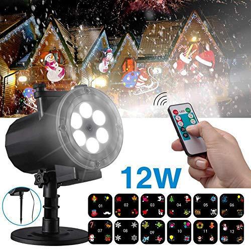 HD Weihnachten Deko LED Projektor, Wasserdicht Projektionslampe außen ProjektorLicht Effektlicht Projektor Lichter mit 12 Muster für Weihnachts Neujahr Party Geburtstag Urlaub Innen Deko