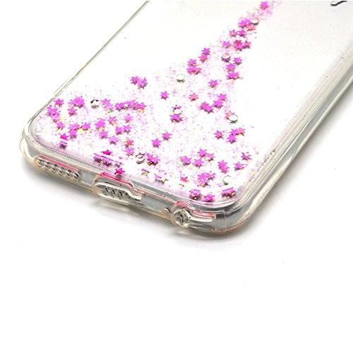 Vandot 2 en 1 Etui pour iPhone 8 Plus Souple TPU Silicone Housse Clair Transparente Coque pour iPhone 8 Plus / iPhone 7 Plus Ultra Mince Ultra Léger Cover Absorption de Choc Antidérapant Anti-rayures  Fée - Rose Rouge
