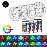 Zorara Unterwasser Licht mit Fernbedienung, 4 Stück RGB Multi Farbwechsel Wasserdichte LED...