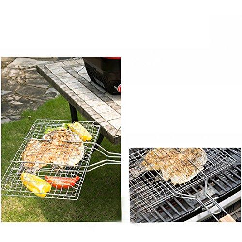 51lnb3%2BJGIL - B & C. Raum 304 Edelstahl Grillkorb Drahtgitter Für Fisch Steak BBQ Grill Zubehör Mit Holzgriff silber