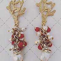 Orecchini con corallo in zama e pendente di perla barocca con perline di Majorca