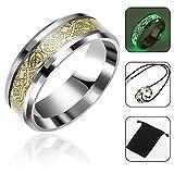 Aolvo Luminous Glow Hochzeit Band Ring Gold Inlay bequem, Edelstahl-Band-Ring für Herren –, keltischer Drachen, Damen-Ring, Schmuck und Halskette, die mit Tasche, 2.23cm