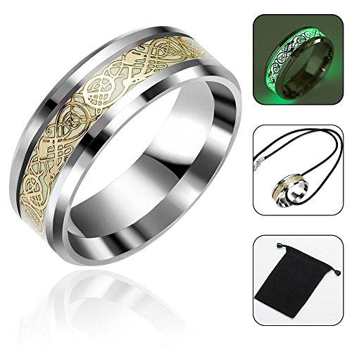 Aolvo luminoso glow wedding band anello dorato in acciaio inox intarsio comfort fit wedding band anello per uomo o donna–dragone celtico anello gioielli con borsa e collana, 1.74cm