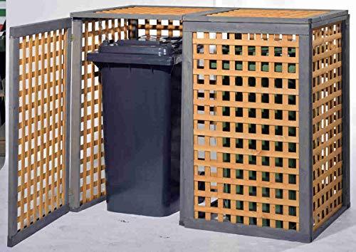 Holz Mülltonnenbox Kaprun für 2 x Mülltonnen 240 Liter erweiterbar