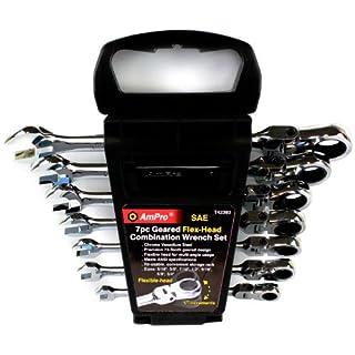 Ampro t42393verzahnte Kombination Flex Schlüssel Set, Sae, 7-teilig
