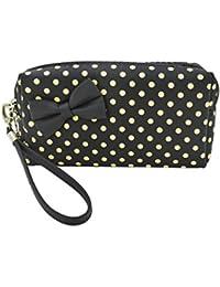Premium Small Polka Dot Bow Double Zip Wristlet Cosmetic Makeup Bag