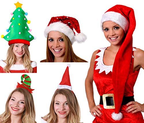 rty Pack 5Stück Damen Weihnachts Kostüm Zubehör Set Pailletten Santa Hat + Mini Elf & Santa Hüte + lang Santa Hat + Mini Spirale Santa Hat ()