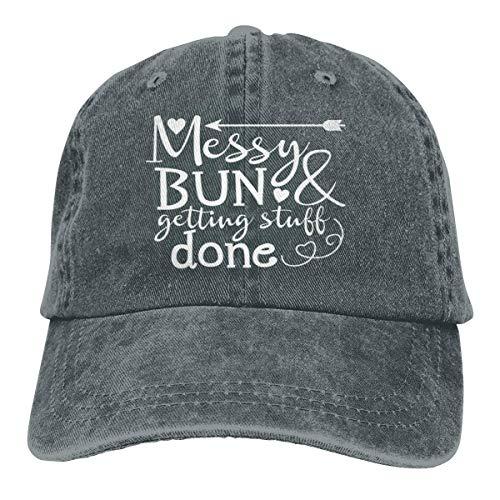 Presock Messy Bun and Getting Stuff Done Cowboy Cap Unisex Dad Baseball Hats Deep Heather - Heather Rim