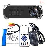 Multimedia Tragbar Full HD 1080P Beamer | YG320 USB HDMI AV VGA SD Mini Beweglicher LED Projektor | Mini Video Beamer ideal für Heimkino, Filme, Unterhaltungs-Spiele | 24-80 Zoll (Grau)