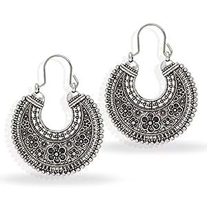 Jaipur Mart Indian Oxidised Silver Plated Stud Hoop Bali Earring For Women (Silver, Queen, 1 Pair)