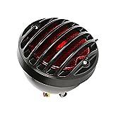 ECLEAR Motorrad Rücklicht Vintage Bremslicht aus Eisen Kennzeichnenleuchte Rückleuchten Bremsleuchten für Custom Harley Bobber Chopper, Schwarz