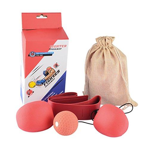 Box Training Set, Lommer Erwachsene Boxing Speed Ball Set Reaktivität Awareness Training Punching Speed Ball für Kampf Free Combat (zufällige Farbe von Ball und Stirnband)