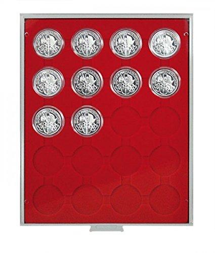 Lindner 2544 Münzenbox mit 20 runden Vertiefungen für Münzenkapseln mit Außen-Ø 44 mm-Grau / rote Einlage