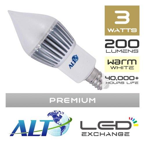 Nur je-Euro-Alt Premium LED Kerze Licht für Kronleuchter, E14, 3W, 200Lumen (67lm/W), warmweiß,-270º Frosted-Breite Lichtstreuung - 3 Licht Kronleuchter Frosted