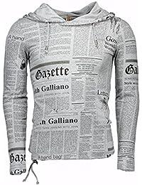 John Galliano Cotton Paperprint Hoodie 1500-T51-8320 khaki
