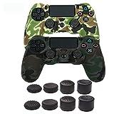 Coque en Silicone pour contrôleur de PS4, Cocotop Jeu vidéo Skins Accessoires Coque de Protection Coque pour Playstation 4Controller (Camouflage Skin pour Manette X 1+ Pouce Grips X 8) Double Green