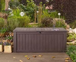 GARDEN STORAGE BENCH BOX LARGE 570L KETER RESIN FURNITURE LOCKABLE WATERPROOF