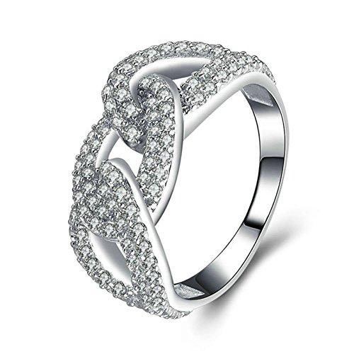 SonMo 925 Echt Silber Ring Trauringe Eheringe Heiratsantrag Ring Solitär Ring Silber Weiß Ringe mit Diamant Zirkonia Ring Damen Größe 60 (19.1)