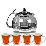 Teekanne mit Teesieb aus Edelstahl + 4 Thermo Teegläser doppelwandig - Teebreiter Teeservice Tee Set Glasteekanne
