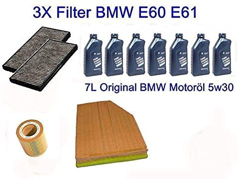 Filterpaket Inspektionskit BMW E60 E61 520i 525i 530i + Original 7L BMW Motoröl - E60 Filtro Olio Kit