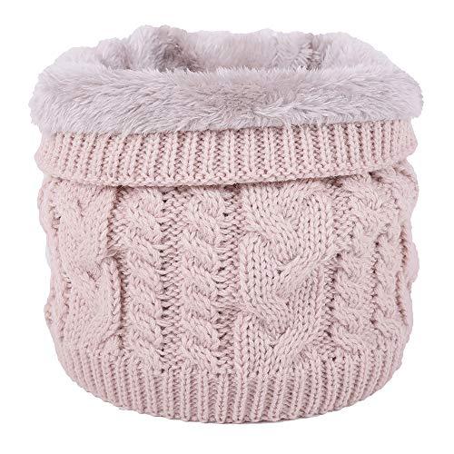 Jfan sciarpa circolare scaldacollo a maglia spessa foderata in morbido pile a doppio strato invernale (rosa)