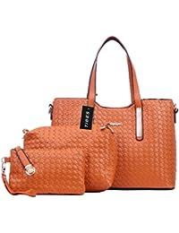 Tibes Art und Weise PU Leder Handtasche + Schultertasche + Geldbeutel 3pcs Beutel