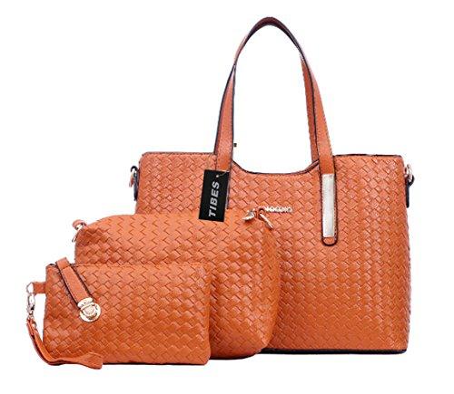 Tibes Fashion Pu Leather Handbag+Shoulder Bag+Purse 3pcs Bag Orange
