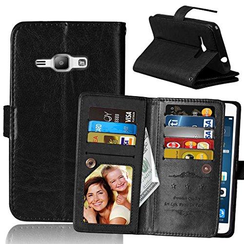 Samsung Galaxy J1 2016 JI20 Fall Flip Folio Case Solid Farbe Premium Synthetik-Leder-Kasten-Standplatz-Mappen-Kasten-Kasten mit 9 Karten-Bargeld-Slots für Samsung Galaxy J1 2016 JI20 ( Color : Brown , Black