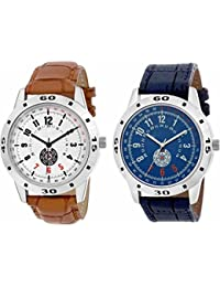 Iconic Analogue Round Dial Leather Strap Combo Stylish Wrist Watches - For Men